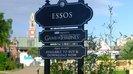 The sign, which renames Essex as 'Essos', is outside Colchester Castle Pictures: PREMIER COMMS