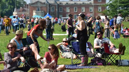 Visitors enjoy the music, sunshine and food at the Red Rooster Festival at Euston near Thetford.