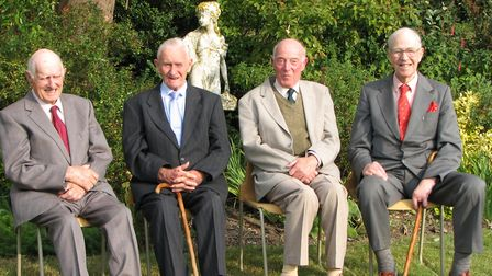 Fred, second right,at a reunion with fellow Sudbury Grammar School pupils Dick Colson, Bob Jackson,