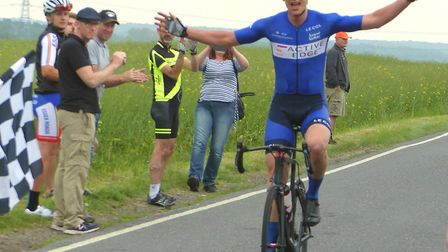 Cambridge rider Jim Bradford wins alone in the Andrews Trophy Road Race. Picture: FERGUS MUIR