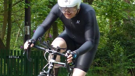 Alan McGuire (Ipswich BC) on his way to the top handicap award at the Great Yarmouth CC 25 at Somerl