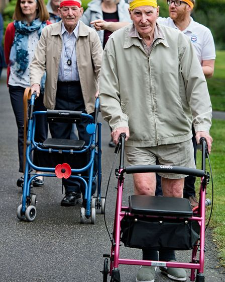 Residents and staff of Seckford Almshouses striding out on their walk Picture: SIMON LEE PHOTOGRAPHY