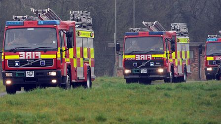 Firefighters were called to the scene of a barnfire at a racetrack owned by The Jockey Club in Newma