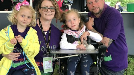 Rebbeca and Tony Bayliss with their daughters Tracey (left) and Teigan (right) at 'TeigyFest' which
