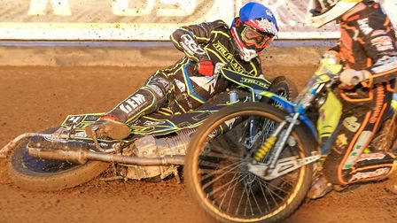 A fallen David Bellego is collected by Kyle Howarth in heat three of the Witches/Wolves clash. Pi