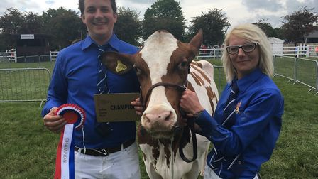 John Smith and sister Louise Lawrence with their winning Ayrshire Picture: SARAH CHAMBERS