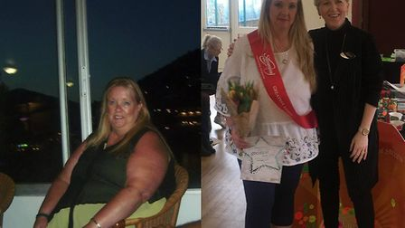 Debbie Fowler before (left) and after with Slimming World consultant Susan McGregor Pictures: CLARE