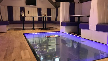 The VIP area at Rubix, a new retro bar and club on Crouch Street, Colchester has a glass floor. Pict