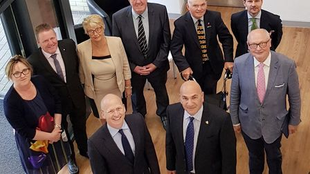 Steve Gallant and the first East Suffolk council cabinet. Picture; EAST SUFFOLK COUNCIL