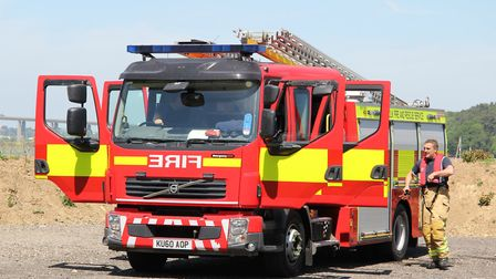 Fire fighters are battling a fire in a large area of woodland in Suffolk. Picture: ARCHANT