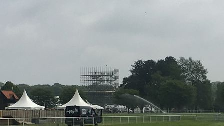 The viewing tower taking shape at Trinity Park Picture: SARAH CHAMBERS