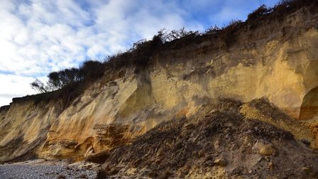Coastal erosion on the beach at Thorpeness Picture: SARAH LUCY BROWN