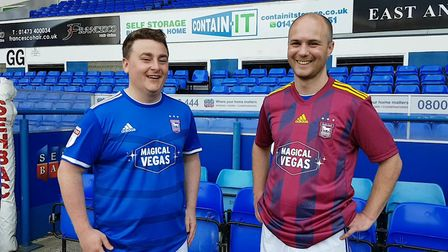 Andy Warren and Stuart Watson modelling the new Ipswich Town 2019/20 home and away kits Picture: ROS
