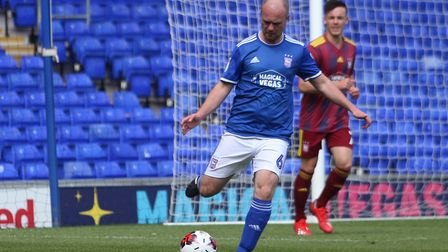 Stuart Watson in action during the Ipswich Town kit launch match at Portman Road Picture: ROSS HALLS