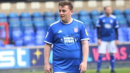 Andy Warren on the ball during the Ipswich Town kit launch match at Portman Road Picture: ROSS HALLS