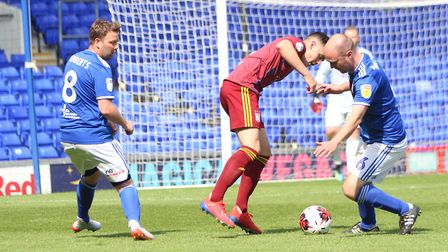 Action shot from the Ipswich Town kit launch match at Portman Road Picture: ROSS HALLS