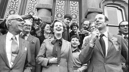 Margaret Thatcher on the steps of Ipswich Town Hall on the campaign trail in April, 1979 Picture: AR