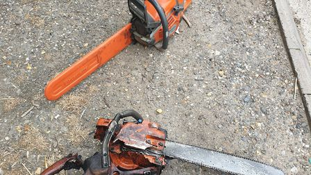 The two chainsaws that fell from the back of a pick-up truck on the A11 near Red Lodge Picture: SUFF