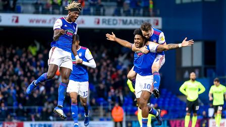 Ellis Harrison (10) celebrates scoring against Sheffield United in December - his only goal during a
