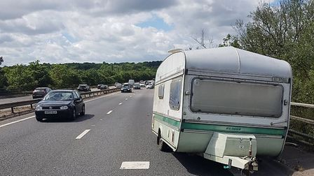 A caravan was abandonded by one driver on the A12 near Colchester on Bank Holiday Monday Picture: JO