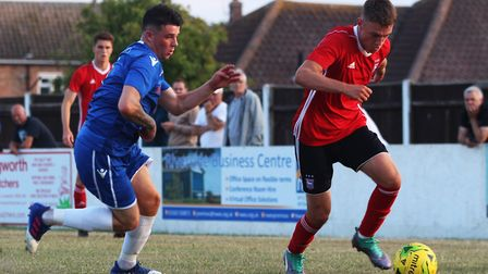 Jack Lankester, right, in action for Ipswich Town u23s against Lowestoft Town in a friendly. Picture