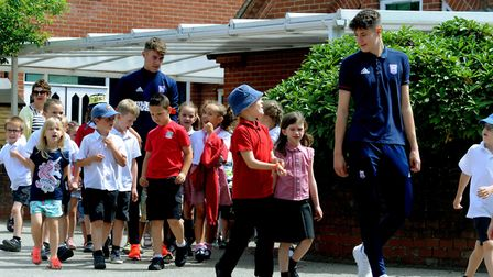 Ipswich Town kick off the East Anglian Go Kids Daily Mile at St Gregory Primary School in Sudbury a