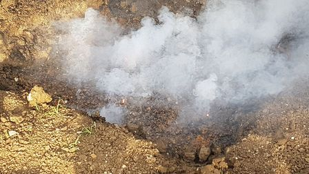 The grenades were detonated in a two foot trench Picture: SUFFOLK FIRE & RESCUE SERVICE