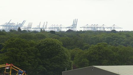 Felixstowe Dock cranes can be seen from the new tower Picture: SARAH LUCY BROWN