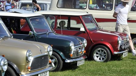 Mini's from down the years at Stonham Barns classic car show.
