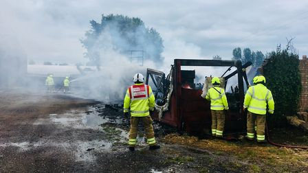 Five fire crews from across Suffolk and another from Norfolk worked togather to subdue the fire in G