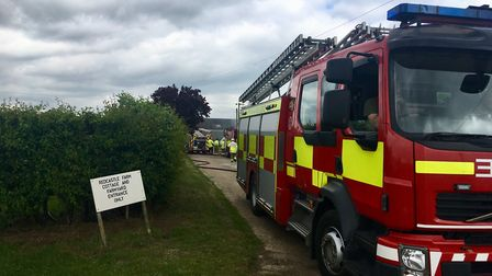 The fire started at Redcastle Farm in Great Barton, where six fire crews battled to contain the blaz