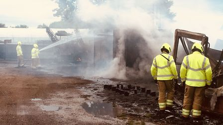 A crop sprayer, a diesel tank and barns were lost to the blaze at Redcastle Farm Cottage Picture: SU