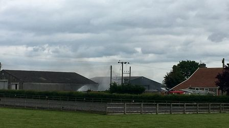 The smoke from the fire in Great Barton, in the north west Suffolk, formed a large black cloud, deem