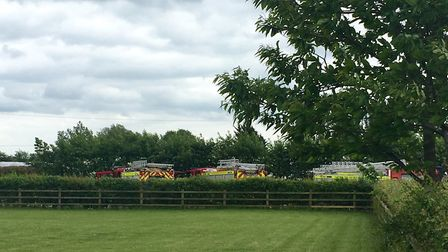 Six fire crewes, five from Suffolk and one from Norfolk, remain at the scene of the blaze in Redcast