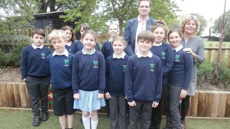 The children at Wilby Primary School with Dr Dan Poulter, MP for Central Suffolk and North Ipswich P