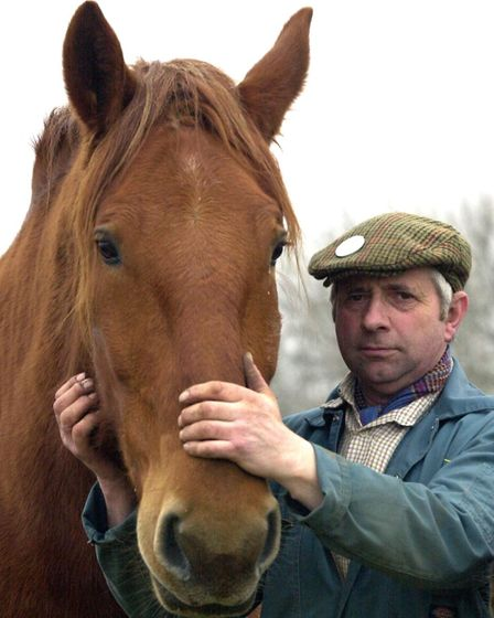 Roger Clark with his Suffolk heavy horse at Weylands Farm, near Stoke-by-Nayland Picture: ANDY ABBO