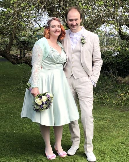 Angharad Kearns-Watts and her husband, Jeremy got married in Suffolk on Monday. Picture: ANGHARAD KE