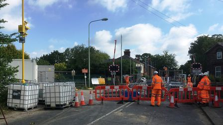 Work has started to rebuild Westerfield level crossing, Picture: PAUL GEATER