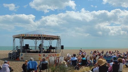 Bandstand on the Beach located off Crag Path on Aldeburgh seafront during the Aldeburgh Festival Pho