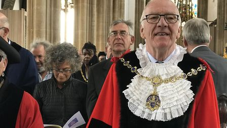 New mayor Ian Bradbury during the civic service at St Edmund's Church, Southwold Picture: VICTORIA P