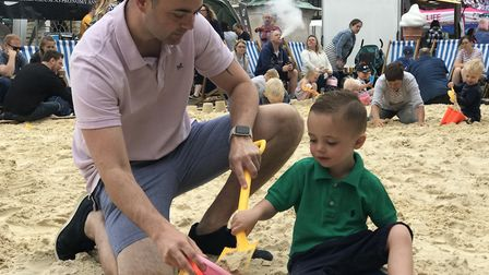 'The beach' proved popular with families at the Whitsun Fayre in Bury St Edmunds over the bank holid