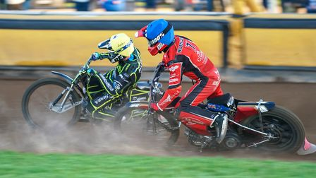 Jake Allen ahead of Bradley Wilson-Dean in heat four at Peterborough where the Witches won their fir