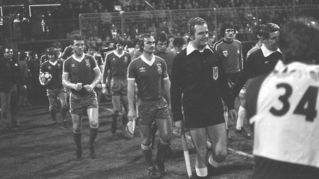 Mick Mills leads out Town at St Etienne where the Blues hammered Michel Platini and co. 4-1. Photo: