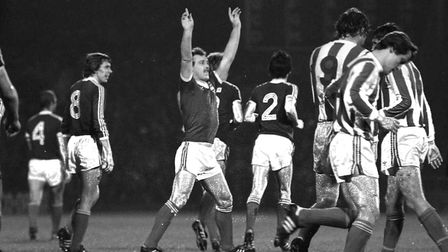 The Legend, 'The Beat', Kevin Beattie celebrates a thunderous goal against Bohemians on Town's way t