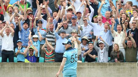 England's Ben Stokes celebrates the catch of South Africa's Andile Phehlukwayo during the ICC Cricke