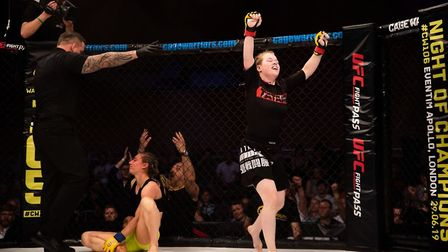 Cory McKenna celebrates her win at Cage Warriors 105. Picture: BRETT KING