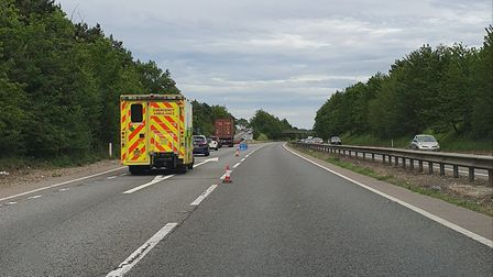 Suffolk police and the East Anglian Air Ambulance were on scene of an A14 crash that saw the road cl