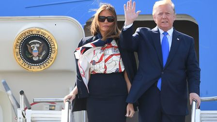 US President Donald Trump and his wife Melania arrive at Stansted Airport in Essex Picture: JOE GIDD