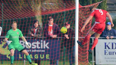 GOAL! Liam Hillyard's powerful header adds a third goal for the Seasiders against Maldon. Photo; THO