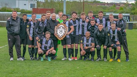 Woodbridge Town players and staff celebrate their fine season with the Thurlow Nunn Premier Runners-